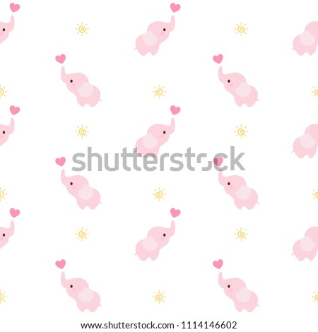 Baby Elephant Seamless Pattern Background