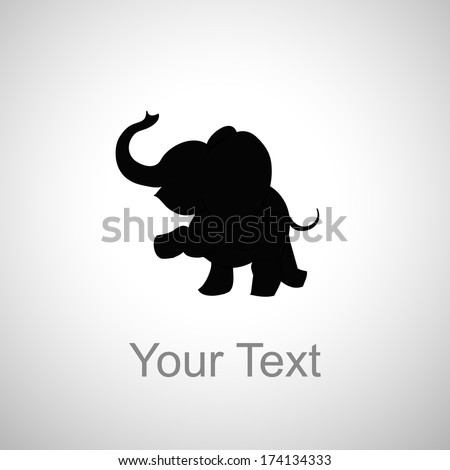 baby elephant silhouette on a