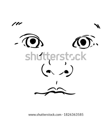 baby face isolated vector