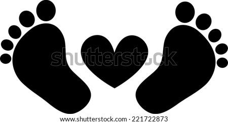 baby feet  footprint  heart