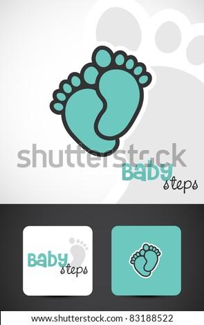 Baby feet, logo & business cards, Vector EPS10.