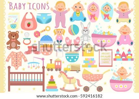 Baby flat icons set. Vector illustration.