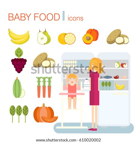 baby food icons. products for...