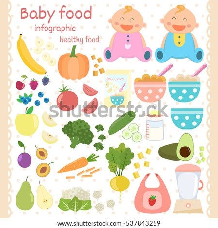 baby food icons set infant