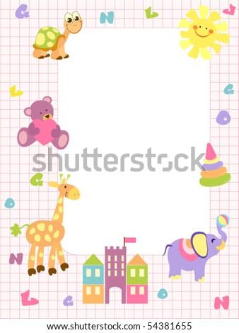 Baby frame or invitation for girls stock vector