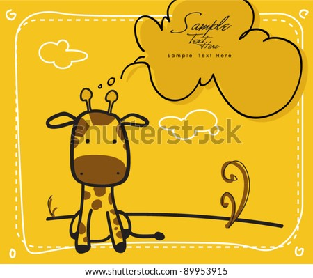 Baby Giraffe newborn baby shower greeting card