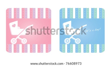 Baby girl and baby boy arrival announcement design