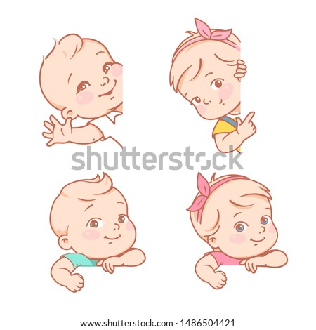 Baby girl and boy sitting on white background. Logo template for baby product. Kids shop, toys, clothes company emblem.  Little baby of 6-12 months with blank frame. Color vector illustration.