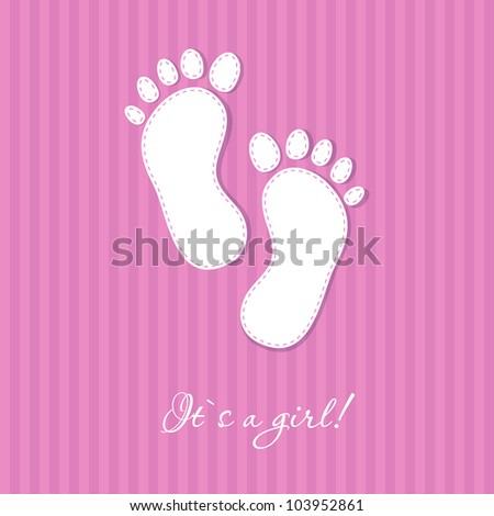 Baby girl arriival card with two foot steps on stripe background - stock vector