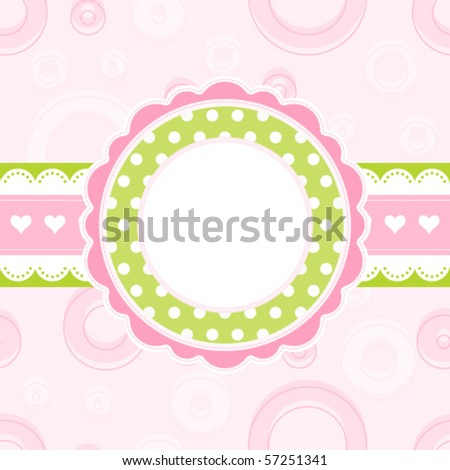 Baby girl arrival announcement card, vector