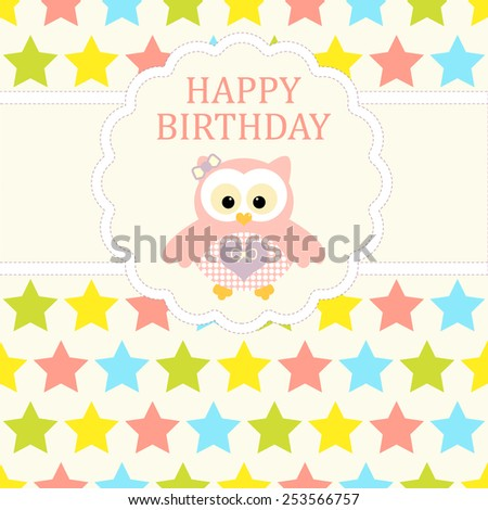 Baby girl arrival card. Baby shower card. Newborn baby card with baby owl and background with colorful stars. Vector illustration. The text is drawn, the text can be removed.