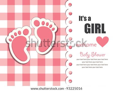 baby girl arrival card. vector illustration