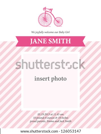 Baby girl birth announcement card template with bicycle illustration, baby shower