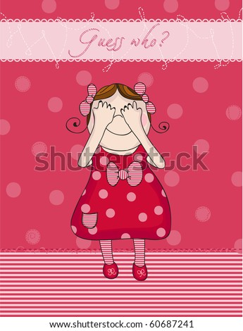 Baby Girl birthday card in red