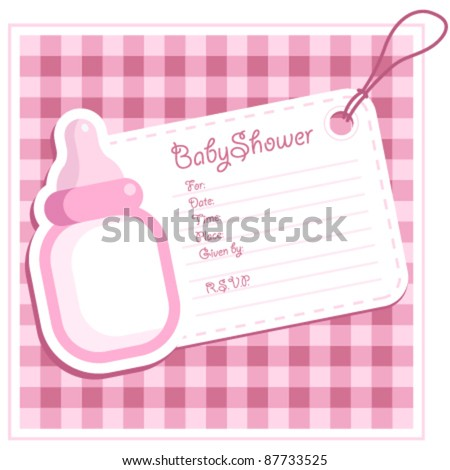 Baby Girl Bottle Shower Invitation Card