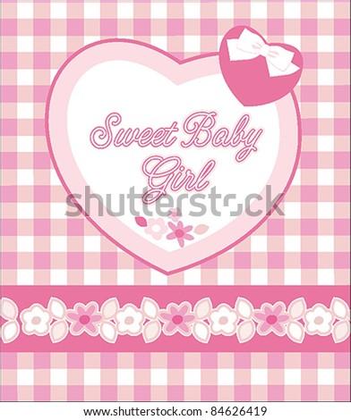 Baby Girl Card - stock vector