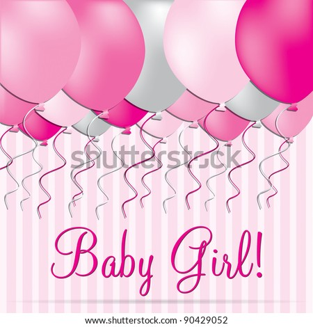 Baby Girl card in vector format.