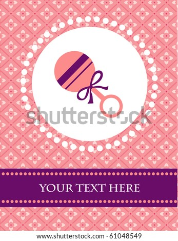 baby girl card template with place for your text