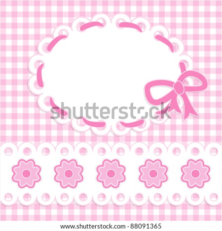 Baby girl card with stripes and flowers
