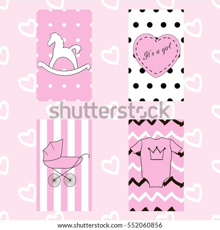 baby girl cards set four