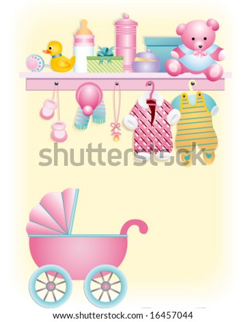 baby girl clothes. stock vector : Baby girl