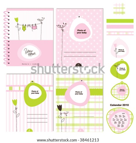 baby girl design elements for baby scrapbook, greeting card, invitation, baby shower, album
