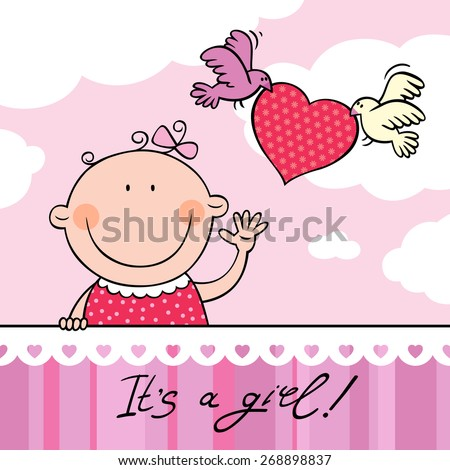 Baby Girl Greeting Card EZ Canvas
