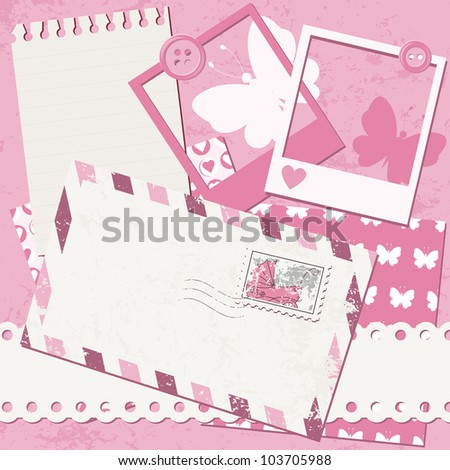 Baby girl greeting card with photo frame and envelope