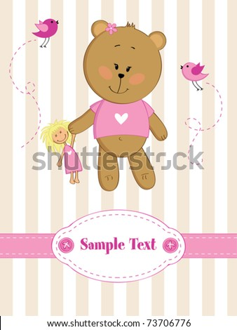 baby girl greeting card with