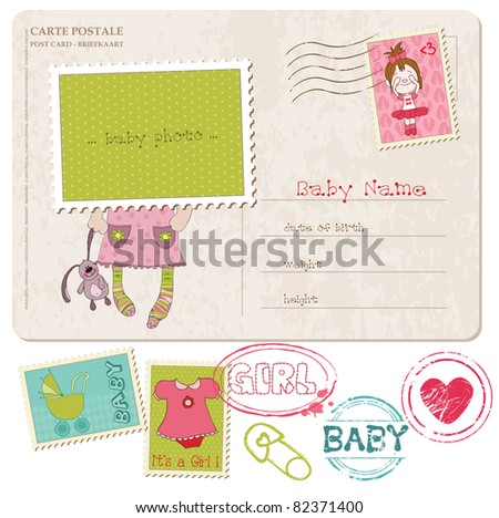 Baby Girl Greeting Postcard with place for your photo and text- and set of stamps