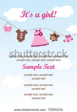 Baby girl invitation card - stock vector