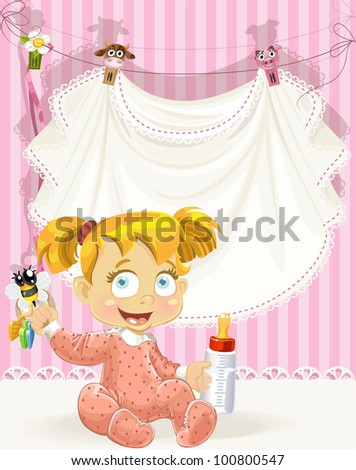 baby girl pink openwork announcement card with girl and bottle of milk