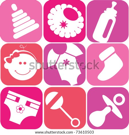 baby girl set, toys and accessories