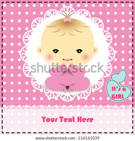 baby girl shower and arrival card with place for your text in