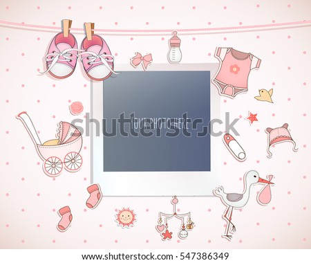 Baby girl shower card. Arrival card with place for your photo.
