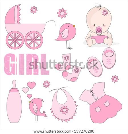 Baby Girl Shower Design Elements Ilustración vectorial en stock ...
