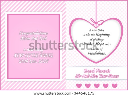 Baby Girl Shower Greeting Card Vector Illustration Design