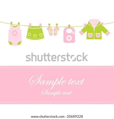 baby girl shower invitation card - Baby arrival announcement card with copy space Cute design for scrapbook, invitation, announcement...