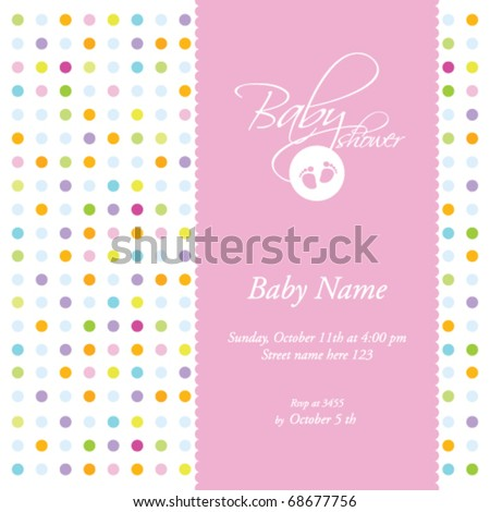 baby girl shower invitation- card template