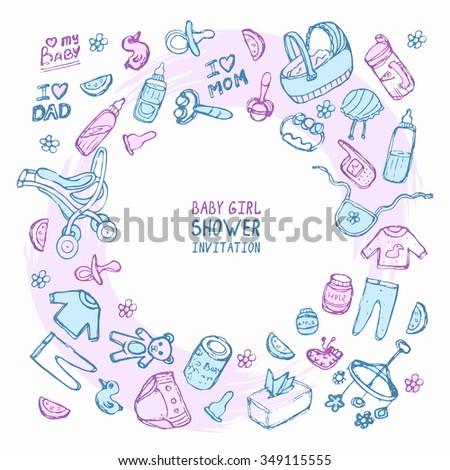 Baby girl shower invitation card. Vector illustration.