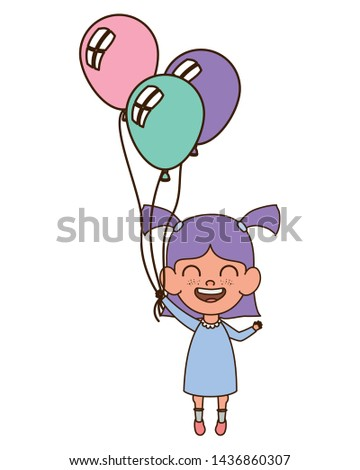 baby girl smiling with helium balloons in hand