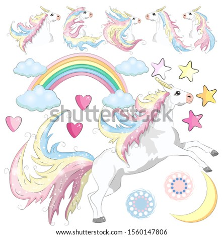 Baby Girl Unicorn Scrapbook Set. Scrapbooking. Decorative Elements. Tags. Labels. Stickers. Notes.