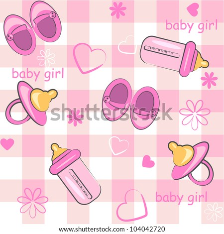 baby girl wrapping and background. icon seamless texture