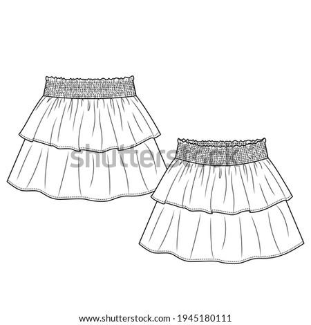 Baby Girls Short Skirt fashion flat sketch template. Technical Fashion Illustration. Smocking elastic waist effect. Layered Frills