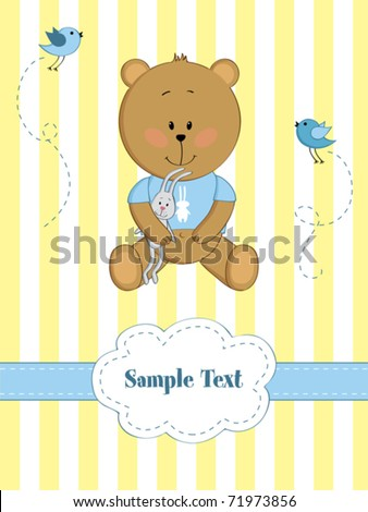baby greeting card with teddy
