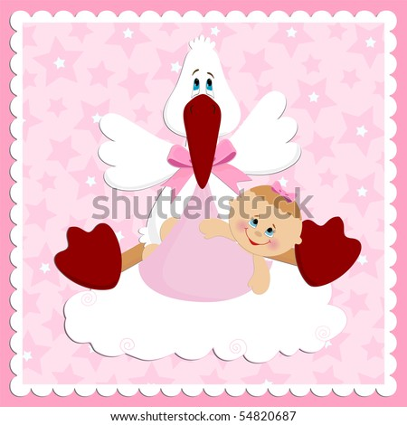 Baby greetings card in pink colors (EPS10)