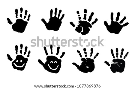 Baby Hand Hands Print Child Black Silhouette Vector Eps Sign Icon Clipart Prints Kid