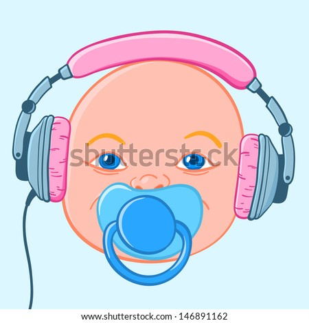 baby head with earphones