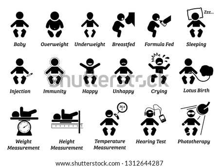 Baby health and medical icon. Illustrations depict infant with various body weight and size, feeding, injection, and emotions. Baby weight, height, and temperature are measured.