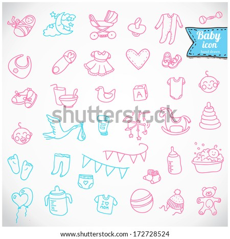 Baby icon set vector illustration hand drawn in doodles